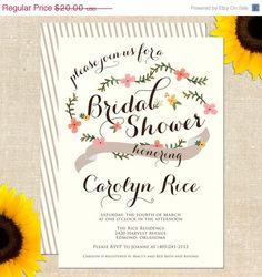 ONE DAY SALE Carolina Bridal Shower Invitation Diy Printable. $10.00, via Etsy.