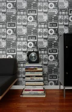 Aimee Wilder Analog Nights Wallpaper by House & Hold, Record players