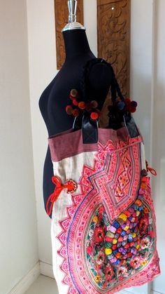 TOTE,  Hill-tribe  / Hmong / Miao / Ethnic /  Bohemian Handbags, Unique Bags. $129.99, via Etsy.
