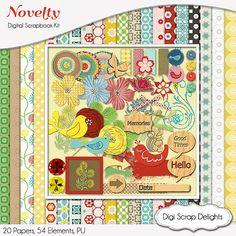Novelty Digital Scrapbook Kit w Birds, Veneer Wood, Turquoise, Blue, Yellow, Red & Green  Instant Download