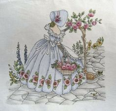 Vintage Embroidery Designs Cottage Crafts: More about coloring an embroidery pattern on fabric Hand Embroidery Designs, Vintage Embroidery, Embroidery Applique, Cross Stitch Embroidery, Embroidery Patterns, Machine Embroidery, Cottage Crafts, Hand Painted Fabric, Lazy Daisy Stitch