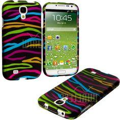 "Amazon.com: myLife (TM) Rainbow + Black Zebra Stripes Series (2 Piece Snap On) Hardshell Plates Case for the Samsung Galaxy S4 ""Fits Models:..."