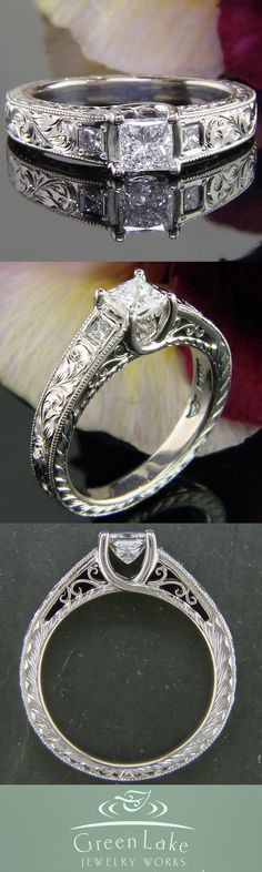 Antique-inspired diamond ring with hand engraved details in palladium.