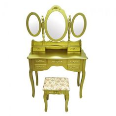 SEAU104 - Set mobilier auriu, cu scăunel și oglindă - http://www.emobili.ro/cumpara/seau104-set-masa-aurie-toaleta-cosmetica-machiaj-oglinda-masuta-488 #eMobili