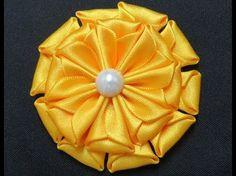 Flor de Fita de Cetim Fácil - Satin Ribbon Flower - Flor de Cinta - YouTube