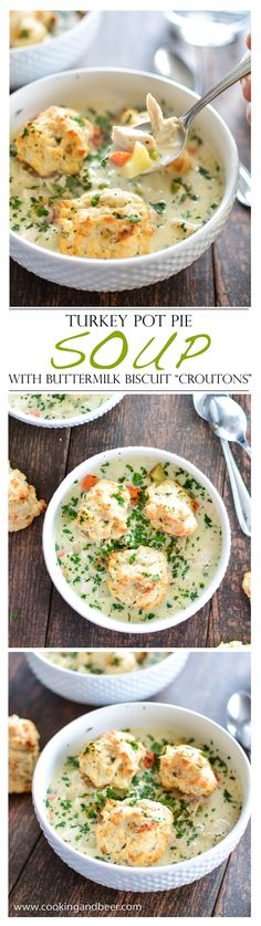 Ingredients: Yield: 6 servings Prep Time: 15 min Total Time: 55 min Turkey Pot Pie Soup: 1/2 cup unsalted butter, divided 1 medium-sized yellow onion, diced 3 m