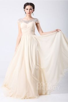 Trendy A-Line Bateau Sweep-Brush Train Chiffon Evening Dress with Draped and Crystals COZT14033