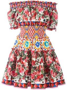 Mambo print peasant dress