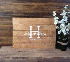Rustic Wedding Guest Book Alternative /The Original Heart & Initial Design/ Rustic Wedding Decor Wedding Guest Sign In Wood Guest Book