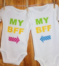 Set of Twins Best Friends Forever My BFF by beyondbaskets on Etsy, $34.00 -- Another cute outfit choice for Presley and her BFF.
