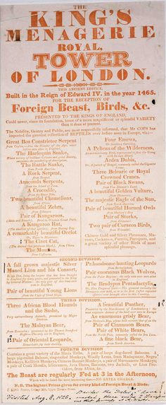 Poster from 1826 'The King's Menagerie Royal at Tower of London (From Jennifer Knight)