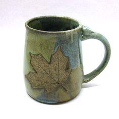 Stoneware Pottery Mug with Leaf by CrookedCreekStudio1 on Etsy,