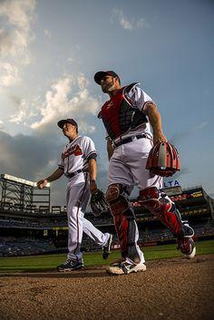 Dynamic duo! Medlen & Gattis take the field.(Photo by Pouya Dianat/Atlanta Braves/Getty Images)