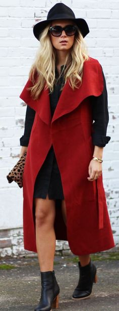 Style Cusp Red Trench Vest Fall Streetstyle women fashion outfit clothing stylish apparel @roressclothes closet ideas