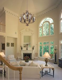 High ceiling for living room, tall windows