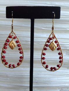 Gold Tone Teardrop Earring with Matte Red beads by zamarjewels, $18.00