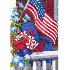 Patriotic Perch Garden Flag