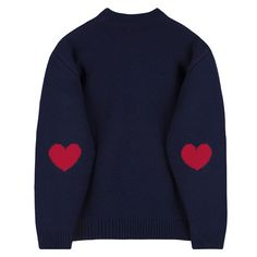 HEART CLUBEmbroidered Logo With Elbow Heart Accent Knit Sweater |... (76 CNY) ❤ liked on Polyvore featuring tops, sweaters, heart knit sweater, knit top, loose fitting sweaters, drop shoulder sweater and heart sweater