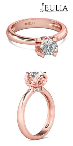 Rose Gold Solitaire Round Cut Created White Sapphire Sterling Silver Women's Ring #jeulia