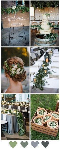 From the bride's floral crown to the dreamiest fresh table runners, greenery has it all when it comes to beautiful budget wedding decor. decorations greenery Beautiful Budget Decor - How to Style a Greenery Wedding Wedding Color Schemes, Wedding Colors, Wedding Flowers, Wedding Table, Rustic Wedding, Our Wedding, Wedding Disney, Wedding Summer, Trendy Wedding