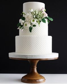 Floral Classic White Wedding Cake on 14 inch Wood Cake Stand country chocolat mariage cake cake country cake recipes cake simple cake vintage Wedding Cake Stands, Fall Wedding Cakes, White Wedding Cakes, Wedding Cakes With Flowers, Beautiful Wedding Cakes, Wedding Cake Designs, Wedding Cake Toppers, Beautiful Cakes, White Weddings