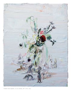 "Alison Schulnik, ""Flowers with Figures,"" oil on canvas, 2011"