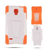 Unlimited Cellular Hybrid Fit On Jelly Case for LG Optimus (Orange Skin and White Snap with Stand) Jelly Case, Orange, Fitness