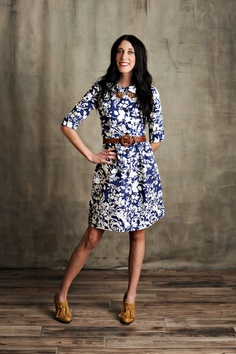 Women's Navy Floral Swiss Dress - Persnickety Clothing