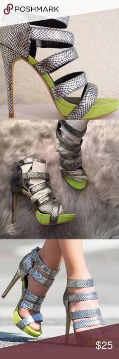 Paper Fox *ANI* High Heels •Silver & Chartreuse Never Worn!! Retail $54  Adorable high heels, kept in closet, perfect condition.   Box and original packing included.   Size 9.5  Smoke Free Home Paper Fox Shoes Heels