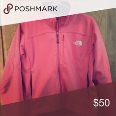 Pink NorthFace Jacket Size medium, in good used condition! The North Face Jackets & Coats