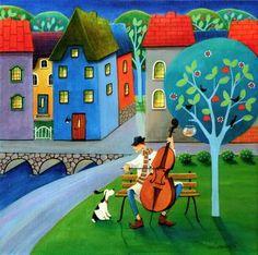 """Saatchi Art Artist Iwona Lifsches; Painting, """"Cello Concert"""" #art"""