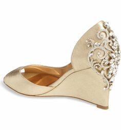 Main Image - Badgley Mischka Meagan Embellished Peep Toe Wedge (Women)