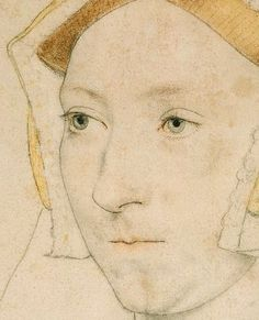 Jane Seymour (detail) by Hans Holbein the Younger (1497 - 1543)    c.1536. Silverpoint, ink and pastel on paper prepared with ground chalk.    One of the most incredible pieces of draughtsmanship in Western art.