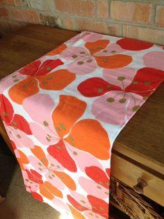 Vintage Flannelette Sheet Flower Power Spinney Orange Red Pink 100x70 inch 1970s