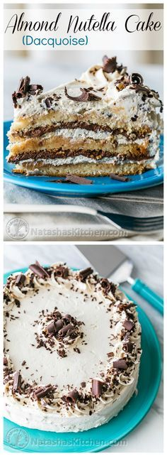 Almond Nutella Cake Recipe (Dacquoise) by natashaskitchen: Layers of scrumptious…
