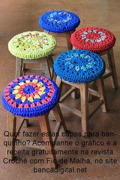 Crochet Stool Covers / Capas para bancos, em crochê