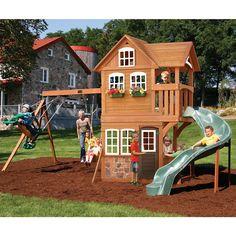 Summerstone Cedar Summit Playset Swing Set Kids Playground NEW Kids Indoor Playhouse, Outside Playhouse, Build A Playhouse, Backyard Playhouse, Outdoor Playhouses, Backyard Playset, Backyard Toys, Kids Backyard Playground, Backyard Trampoline