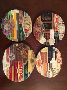 Set of 4 Custom made Cigar Band Coasters