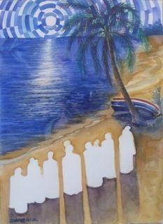 Artiste Bernard Hoyes, titre March to Long Bay, aquarelle sur papier, encadrée en bois, 40,65x 45,72 cm. Cliquez sur le lien pour voir de plus près. | Experience Jamaique