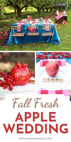 Create an Apple of My Eye Wedding with DIY ideas including an Apple Crate Seating Chart, Apple and Birch Centerpieces, and Caramel Apple Dipping Station! Get all of the details now at fernandmaple.com!