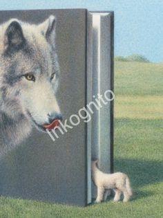 Inkognito: KOG22874 - Ansichtkaart - Wolf en lammetje