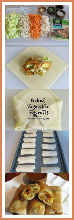 Baked Vegetable Egg Rolls: Recipe by For the Love of Cooking . I Love this recipe since the egg roll wraps can really be filled with whatever you want. So many possibilities for this recipe. Baked Vegetable Egg Rolls Constanze Krish Do i Egg Roll Recipes, Veggie Recipes, Asian Recipes, Appetizer Recipes, Vegetarian Recipes, Cooking Recipes, Healthy Recipes, Vegetable Appetizers, Party Appetizers