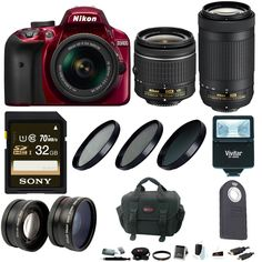 Nikon D3400 DSLR Camera (Red) & 18-55 & 70-300 + Wide & Tele Lenses + Kit