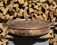 Large pot copper tin Paella handmade