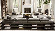 RH Modern CocosCollections: The Cloud Meets Its Match. Restoration Hardware Sectional, Restoration Hardware Living Room, Restauration Hardware, Living Room Designs, Living Room Decor, Dining Room, Moderne Couch, Modular Table, Living Room Sectional