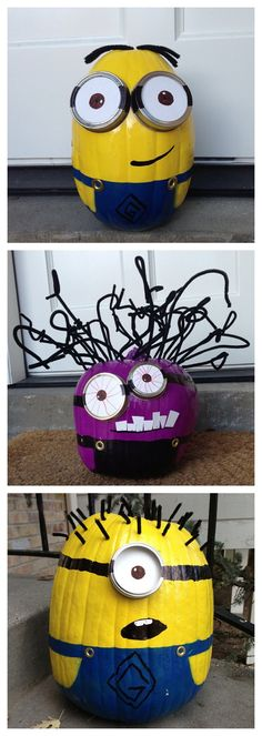 Spray Paint Minion Pumpkins for Halloween! Step by step instructions to make your own Minion pumpkins this Halloween! I adore these fun pumpkin decorating ideas from Todays Mama Source by cutediyprojects Halloween 2018, Holidays Halloween, Fall Halloween, Halloween Crafts, Holiday Crafts, Holiday Fun, Happy Halloween, Halloween Decorations, Halloween Party