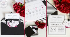 Sharp, contemporary black & white stationary, with a dash or red and music theme, as seen on BRIDE. Wedding Invitations Canada, Wedding Wall, Looking Gorgeous, Wedding Colors, Cards Against Humanity, Style Inspiration, Colours, Bride, Black And White