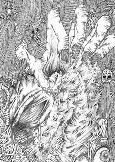 Labyrinth Of The Marrow by Poisonlolly. Dark art illustration created with graphite on paper. © Poisonlolly