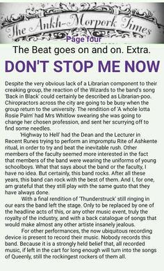 The Ankh-Morpork Times. The Beat goes on and on. Extra. DON'T STOP ME NOW. page four. by David Green. 7 Aug 2015