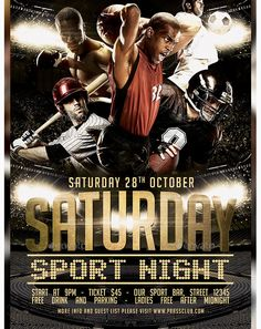 Saturday Sport Night Flyer Template - Party Flyer Templates For Clubs Business & Marketing